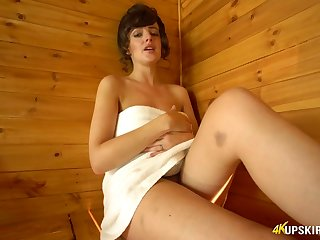 Alone slutty nympho in sauna Kate Anne exposes her twat and booty