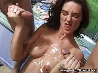 Double HJ From Horny Babe Who Loves To Jerk Off Guys