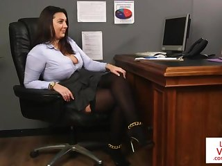 Office high-priced teaches slave fucking partner to masturbate