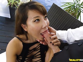 A waiter fucks a hot oriental milf with big natural jugs. Part 2.