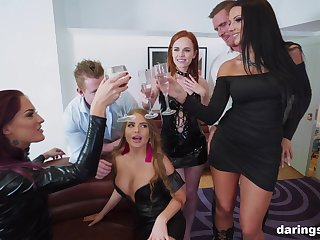 Jolee Love and her slutty friends team up on one dick