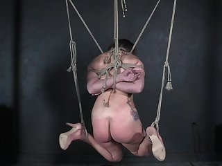 Enslaved teen fucked while hard tied