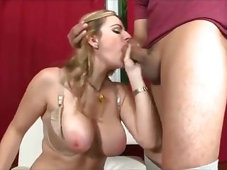Horny blond MILF with a huge set of natural tits gets a hard dick