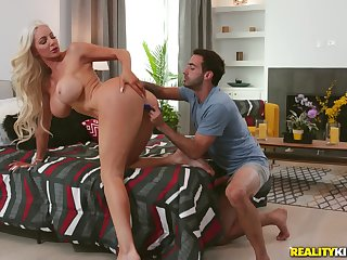 Cougar bends the ass for step son's merciless dong