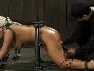 Tied up and masturbated until she cums - iron bondage BDSM