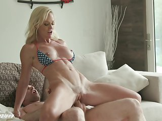 Tight milf tries extra large inches in hardcore