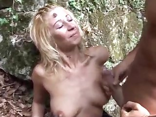 blonde bitch fucked in the forest by italian big stallion