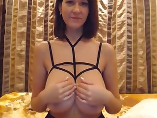 Slim Stacked Girl Playing With Big Tits