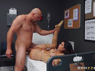 Muscular man fucks the nurse on the hospital bed