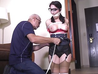 Hot MILF in glasses - bondage porn video
