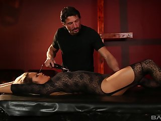 Lana Violet in stockings and lingerie submits to her husband