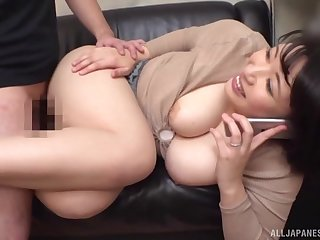 Licking busty Asian GFs wet pussy while she is on the phone