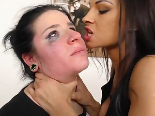 Lezdom Hard Slapping and Spitting - fetish sex