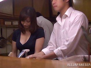 Daring Japanese milf getting her hairy pussy gang banged hardcore