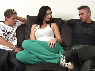 Mature pornstar gets a hardcore action in this MMF threesome