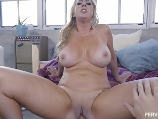 Young lad stick whole cock in mommy's cramped vag