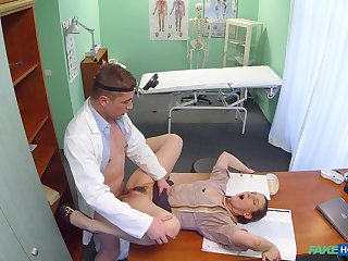 Doctor fucks horny patient in the pussy and cums on her face