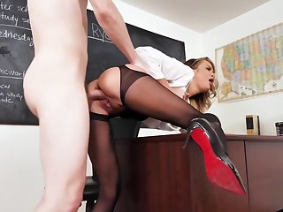 Nurse in stockings right in the classroom long cock Fucks student...