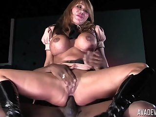 MILF on fire rides the BBC and makes it cum on her tits