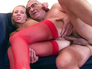 Skinny blonde Cherry Ann in fishnet stockings rides an old cock
