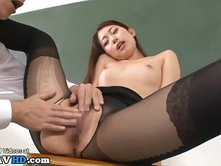 Japanese teacher in pantyhose pounded in classroom