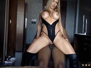 Big breasted blond hair lady mommy satisfies her cunt