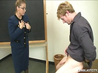 Student with a big dick makes trouble and gets a handjob from a tutor