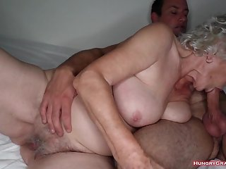 Granny with gigantic fun bags had sex hard
