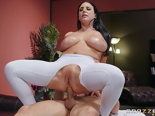 Big-assed, busty Angela White revels in fingering and an oiled anal fuck