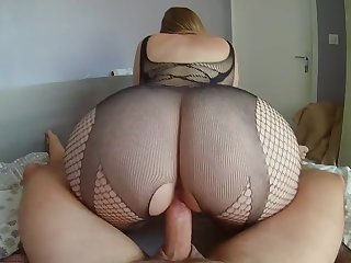 Big bum at work - booty wife rides cock