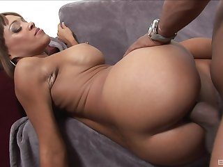 Big booty ebony doll lands entire BBC in both her shaved holes