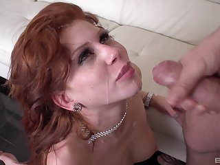 Redhead wife Brookly Lee fucked balls deep and eats all of the cum