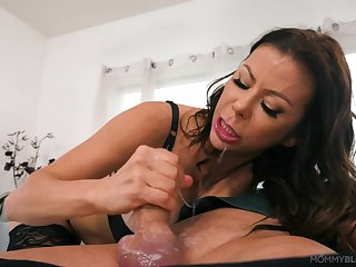 Nude MILF works hard on son's dick in perfect POV