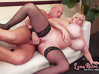 Blonde MILF with huge tits fucked on couch! LenaNitro.dating