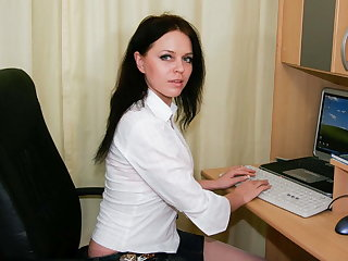 Horny russian MILF wanking in the office
