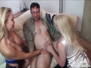 Emily Christa and another hot blonde share a guy's cock for oral delights