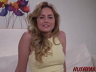 Nude blonde is spreading her legs wide open and getting her pussy licked and fucked