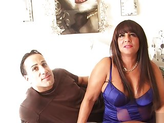 Thick brunette MILF with huge tits takes his cock deep