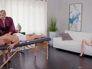 Hot women share their lust on the massage table
