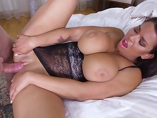 Brunette with big boobs, Chloe Amour is wearing erotic lingerie while fucking her husbands friend