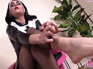 Sexy Nurse And Hot Nun Barefoot And In Stockings Feet Show
