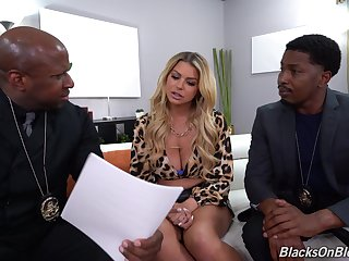 Hot blonde Brooklyn Chase double penetrated by two black dudes