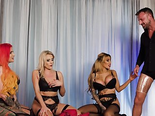 Energized women share penis in dirty group XXX