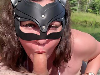 Outdoor dick sucking in HD POV video with a brunette darling