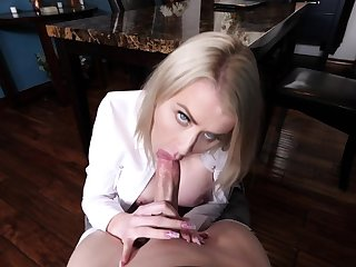 Busty stepmom teases then blowjobs stepson before they fuck