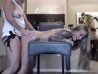 Tatted blond honey is getting screwed stiff from the back, in front of the camera