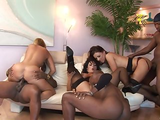 Big crazy interracial sex party