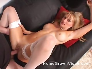 MILF in white stockings swallows cum close up after a hardcore fuck