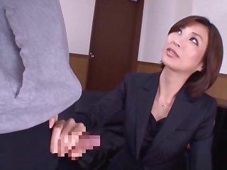 Outstanding daing Akari Asahina giving a kinky hand job