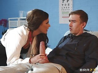 Slender MILF doctor Tina Kay rides her patient for a cumshot